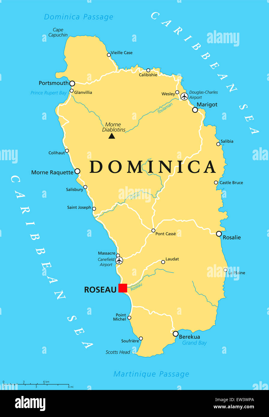 Dominica Political Map With Capital Roseau And Important Places - Dominica political map