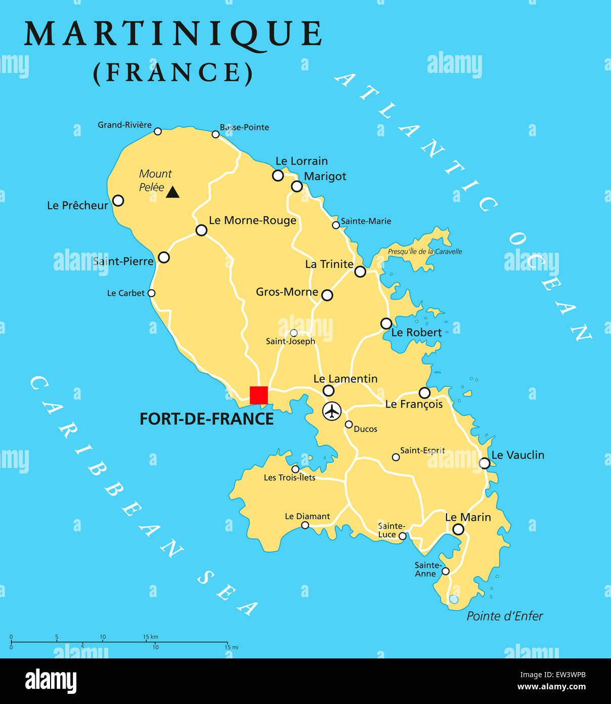 martinique political map with capital fort de france and important stock photo royalty free. Black Bedroom Furniture Sets. Home Design Ideas