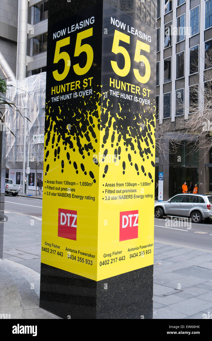 dtz real estate agency advertising commercial office space to lease at 55 hunter street in sydney city centreaustralia advertising office space