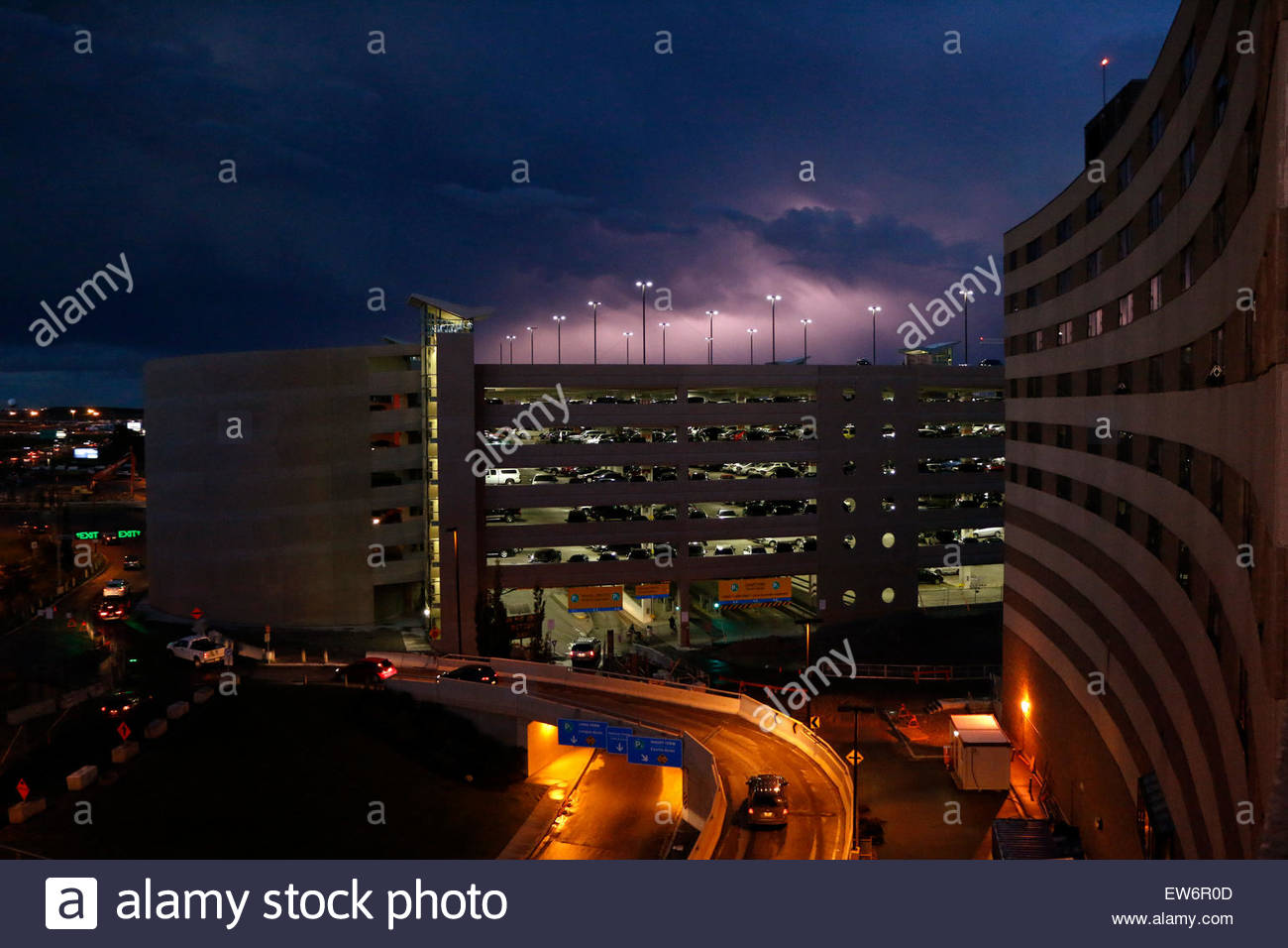 Lighting flashes above a parking garage. & Lighting flashes above a parking garage Stock Photo Royalty Free ... azcodes.com