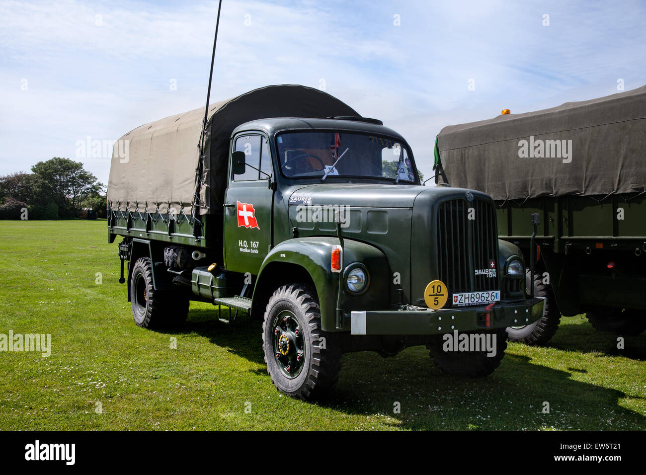 Stock photo swiss army saurer 6dm truck vintage military vehicles on parade at southport woodvale rally merseyside uk