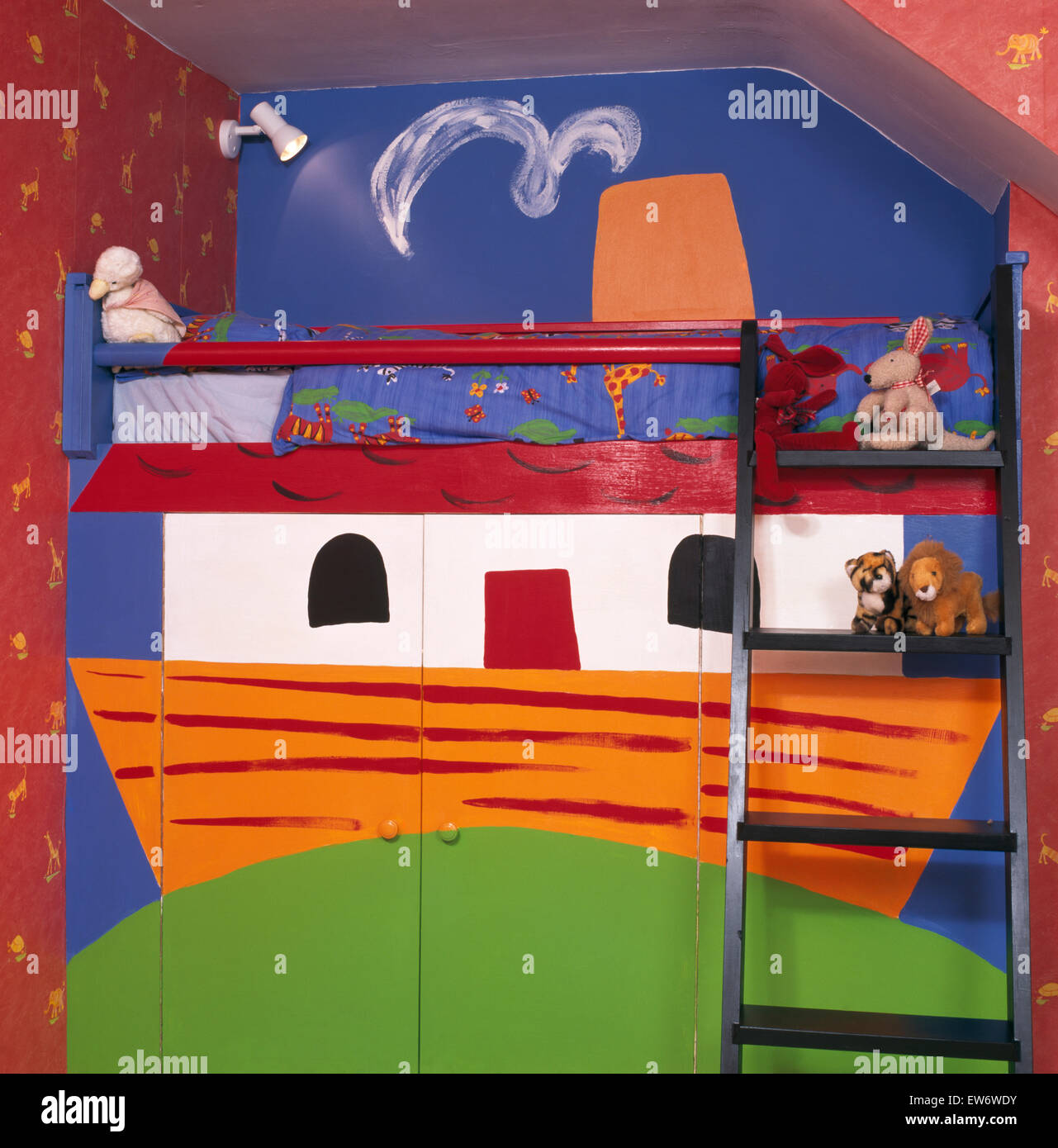 bunk beds painted with a noah u0027s ark theme in children u0027s economy