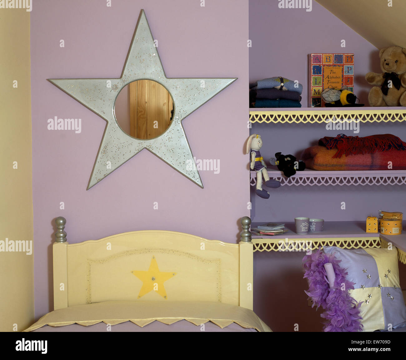 Mauve Bedroom Star Shaped Mirror Above Bed In Childs Mauve Bedroom With