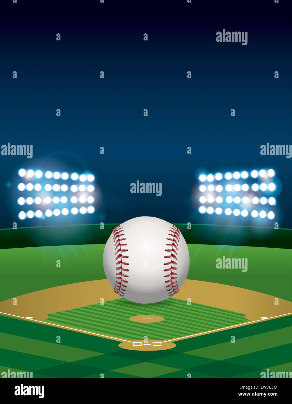 A Baseball Sitting On Lit Stadium Field At Night Vertical Orientation Room For Copy