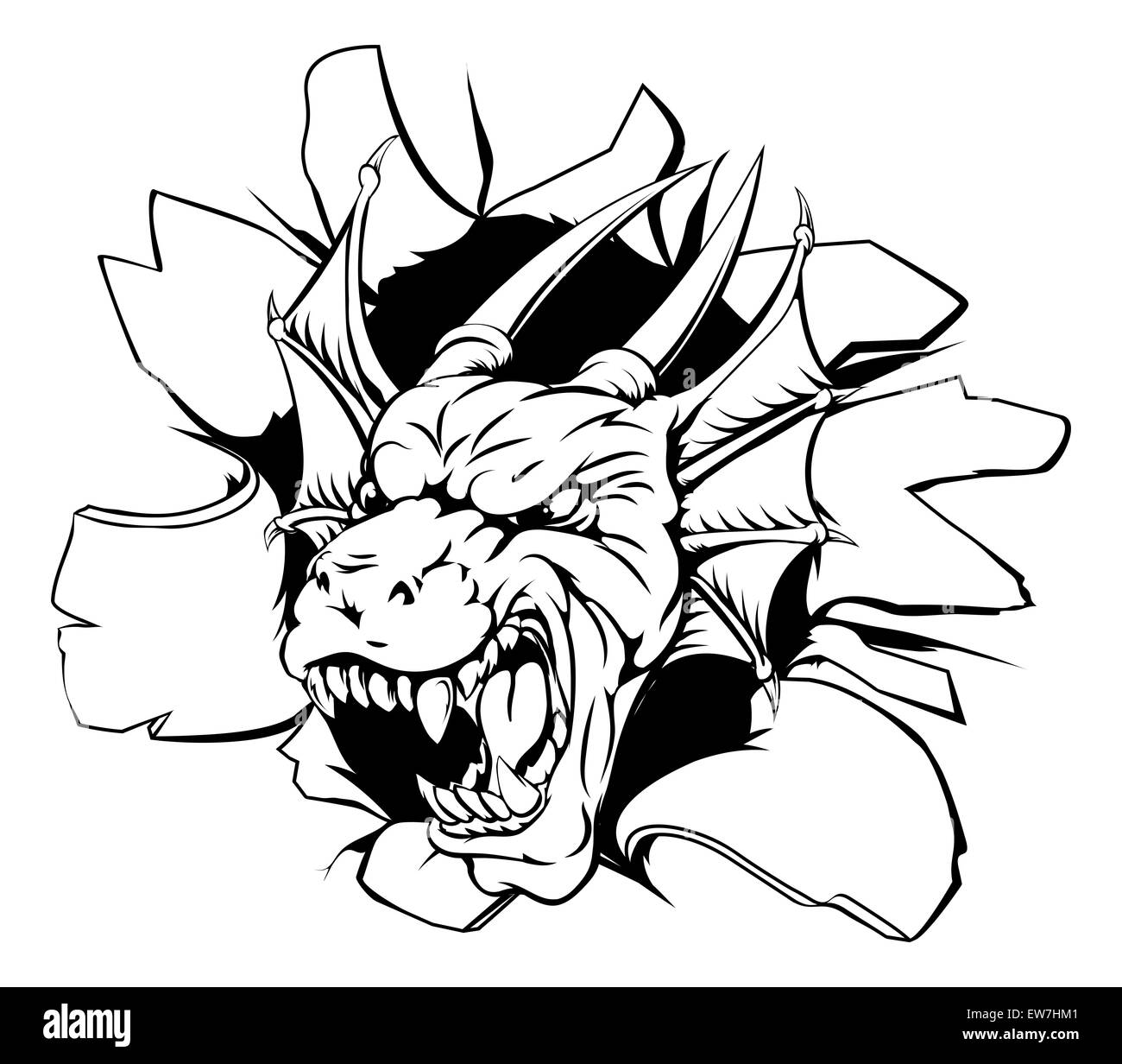 dragons head black and white stock photos u0026 images alamy