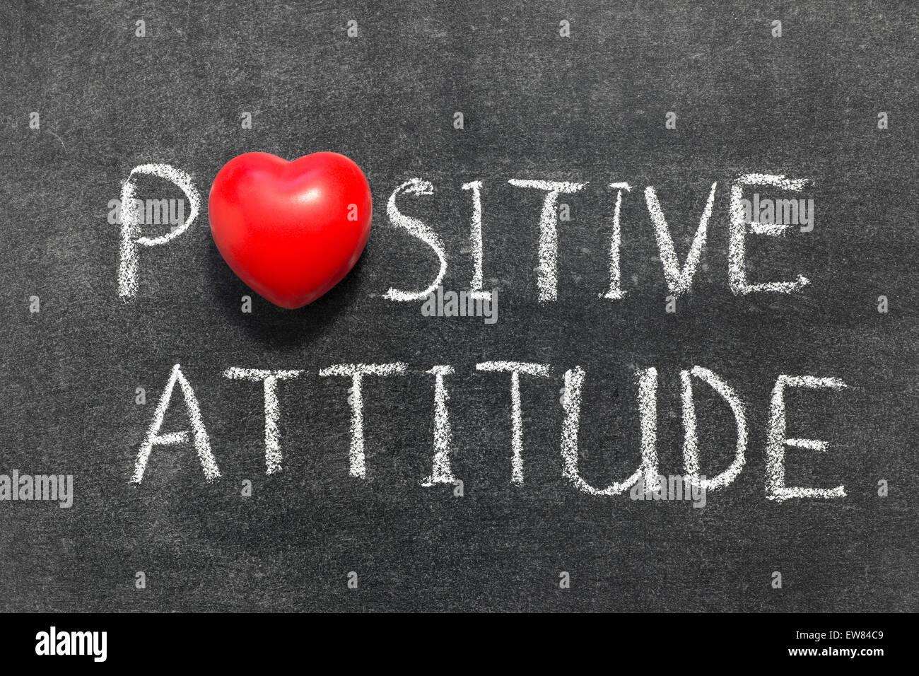 Positive attitude phrase handwritten on blackboard with heart positive attitude phrase handwritten on blackboard with heart symbol instead of o biocorpaavc