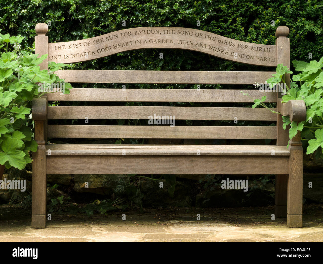 Wooden park bench garden seat with poetry inscription from ...