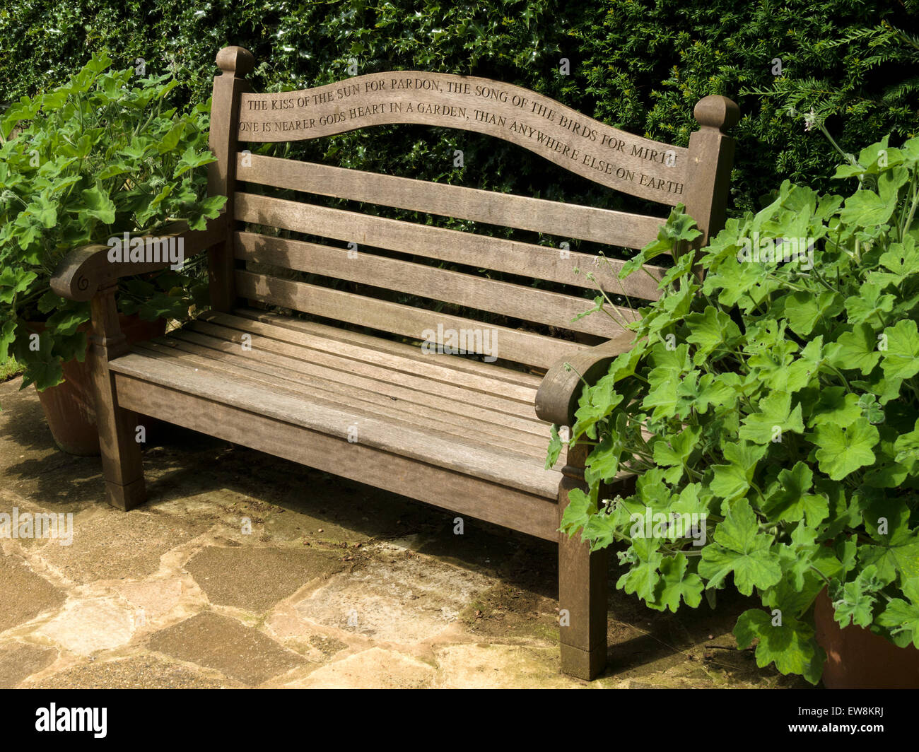 Wooden Park Bench Garden Seat With Poetry Inscription From Gods