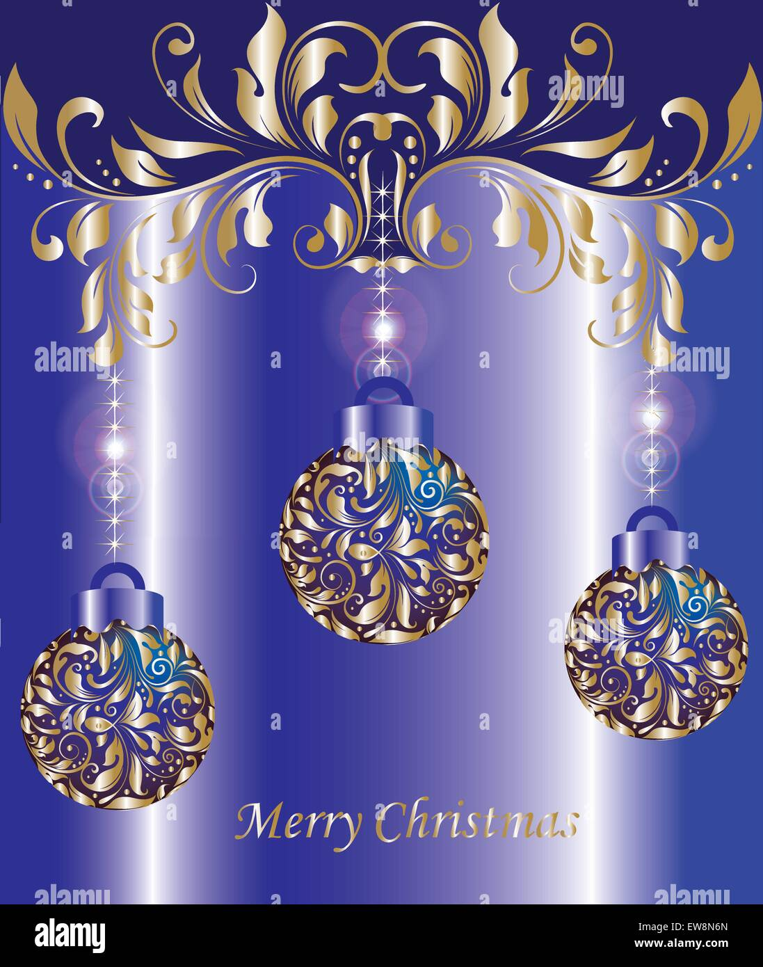 Vintage Christmas Card With Ornate Elegant Abstract Floral Design, Shiny  Gold Balls And Flowers On Royal Blue Background. Vector Illustration.