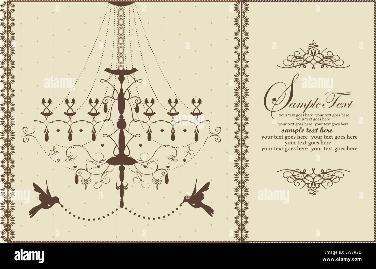 Vintage wedding card with chandelier and birds brown on yellow vintage wedding card with chandelier and birds brown on yellow vector illustration arubaitofo Gallery