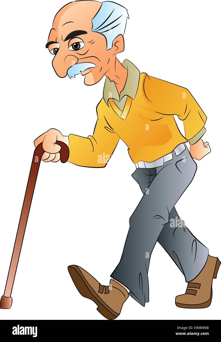 Old Man Walking with a Cane, vector illustration Stock ...