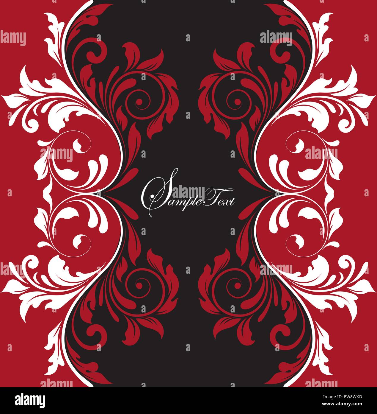 Vintage Background With Ornate Elegant Abstract Floral Design Red Black And White Vector Illustration