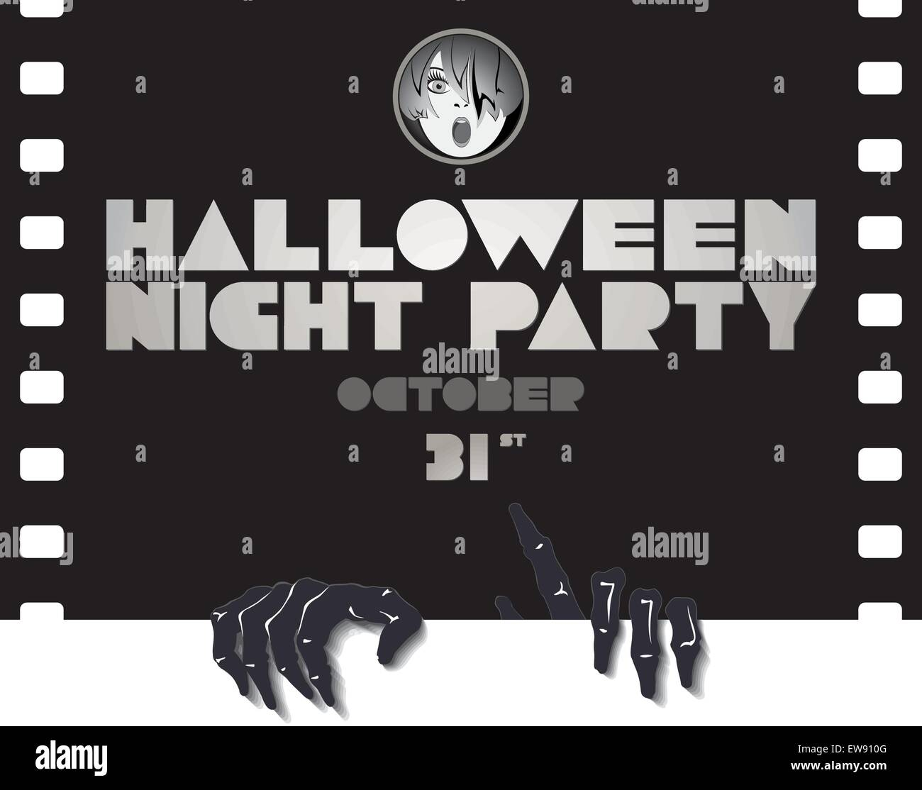 Halloween party poster in a retro movie style Stock Vector Art ...