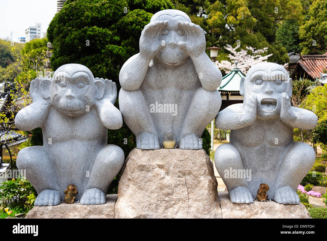 Three wise monkeys wooden ornaments - The Three Wise Monkeys Statues Opposite See