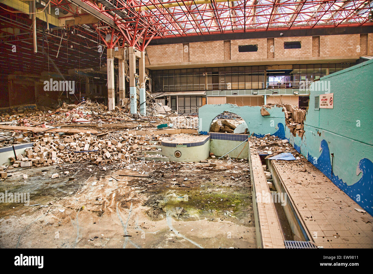 Demolition of crowtree leisure centre in sunderland england a view stock photo royalty free for Washington swimming pool sunderland