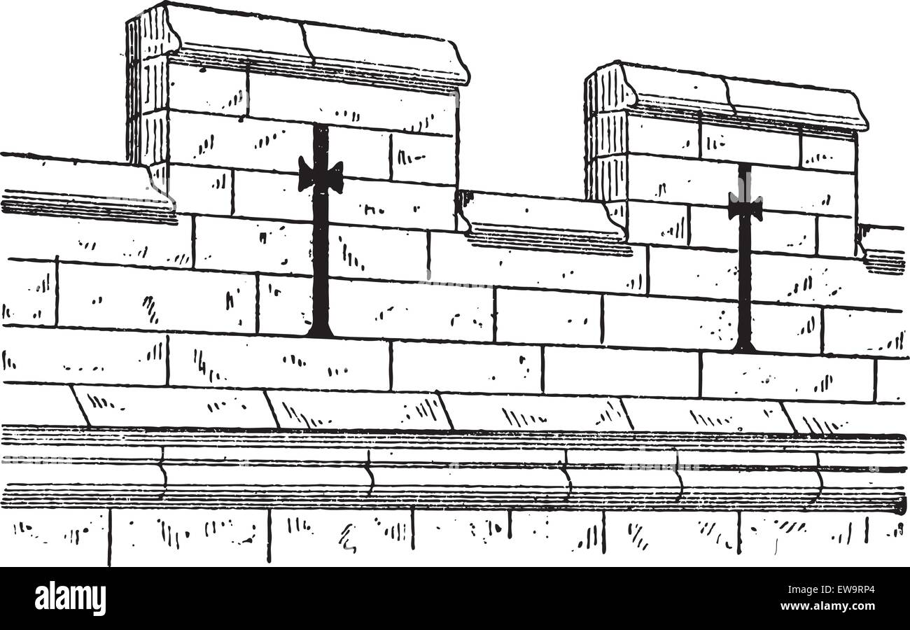 Merlon And Crenel In Military Architecture During The 15th Century Vintage Engraved Illustration Dictionary Of Words Things
