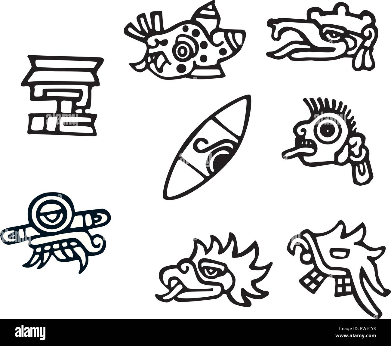 Mayan symbol tattoo images for tatouage mayan symbol tattoo in mayan symbols great artwork for tattoos stock vector art biocorpaavc