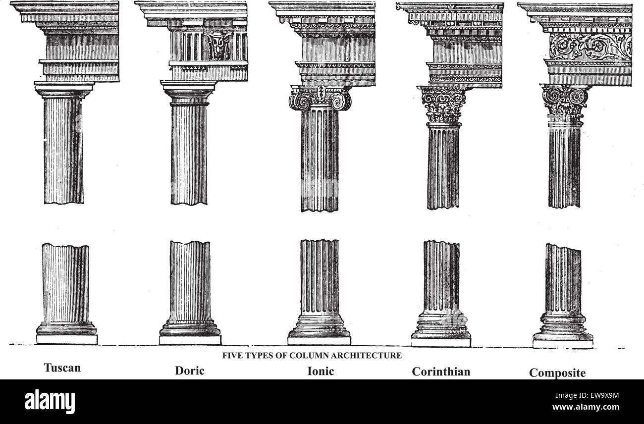 Five Types Of Old Column Architecture Engraving Vector Engraved Illustration Showing A Tuscan Doric Ionic Corinthian And Composite Greek Roman