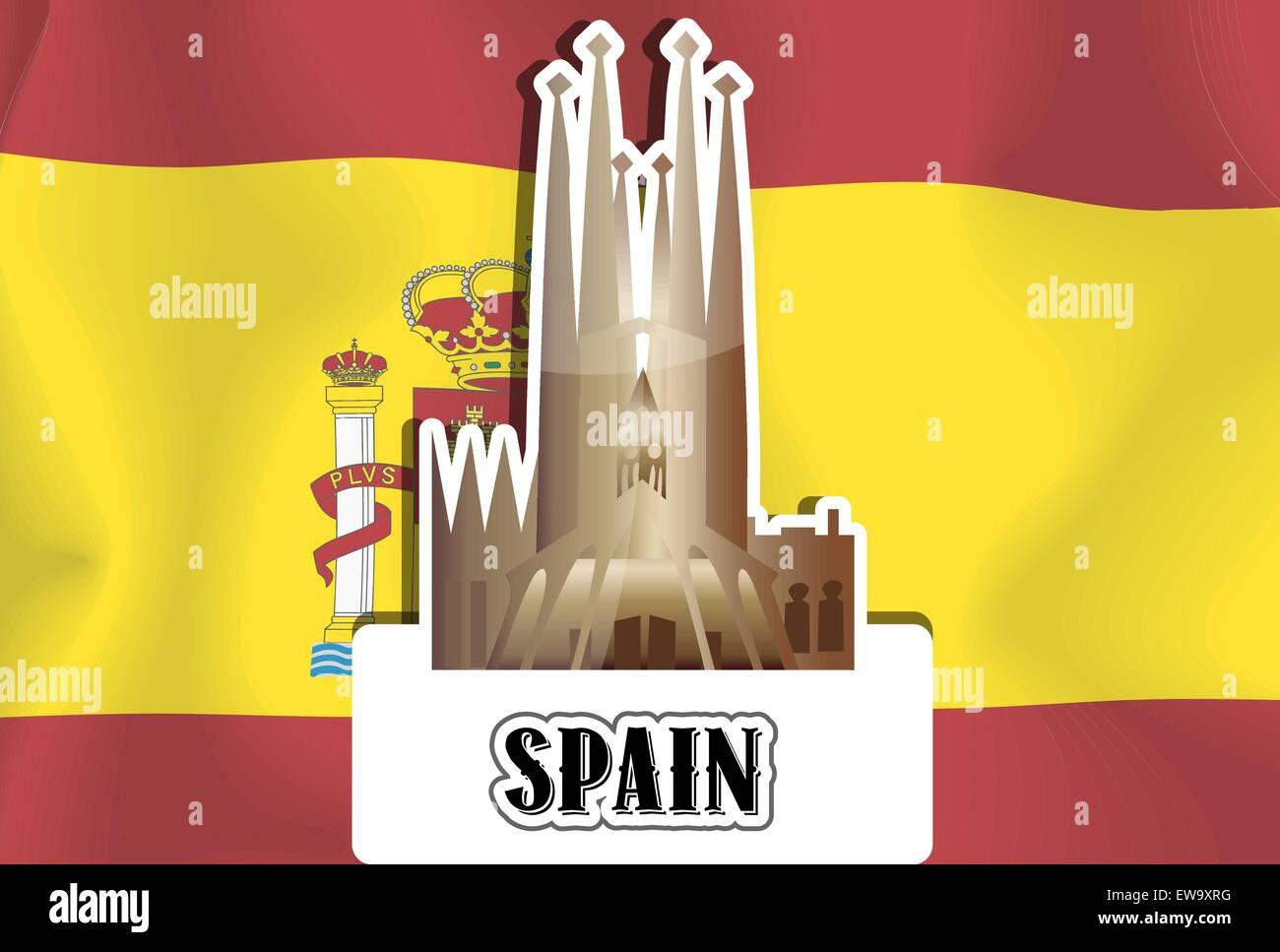 spain spanish flag sagrada familia basilica vector illustration