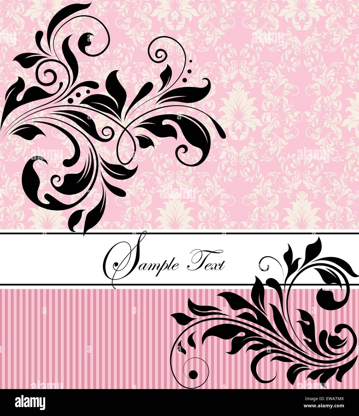 Vintage invitation card with ornate elegant retro abstract floral stock vector vintage invitation card with ornate elegant retro abstract floral design black flowers and leaves on pink and white background dhlflorist Choice Image
