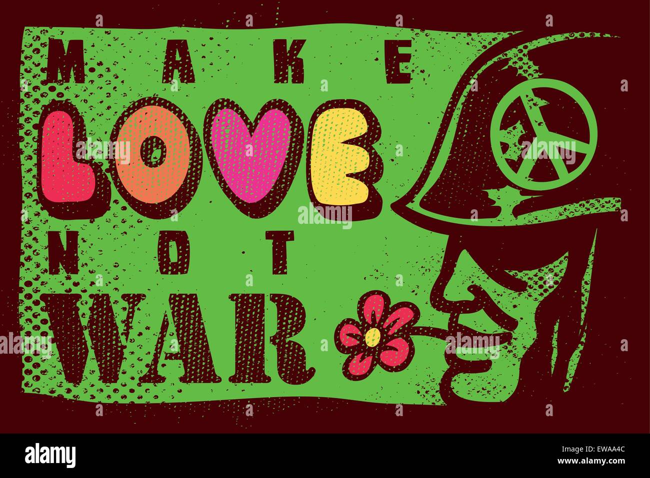Make a poster design - Make Love Not War 68 Summer Of Love Sixties Anti War Inspiring Poster Design