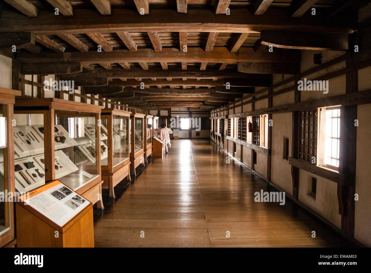 himeji castle, japan. interior of the keep, long open corridor
