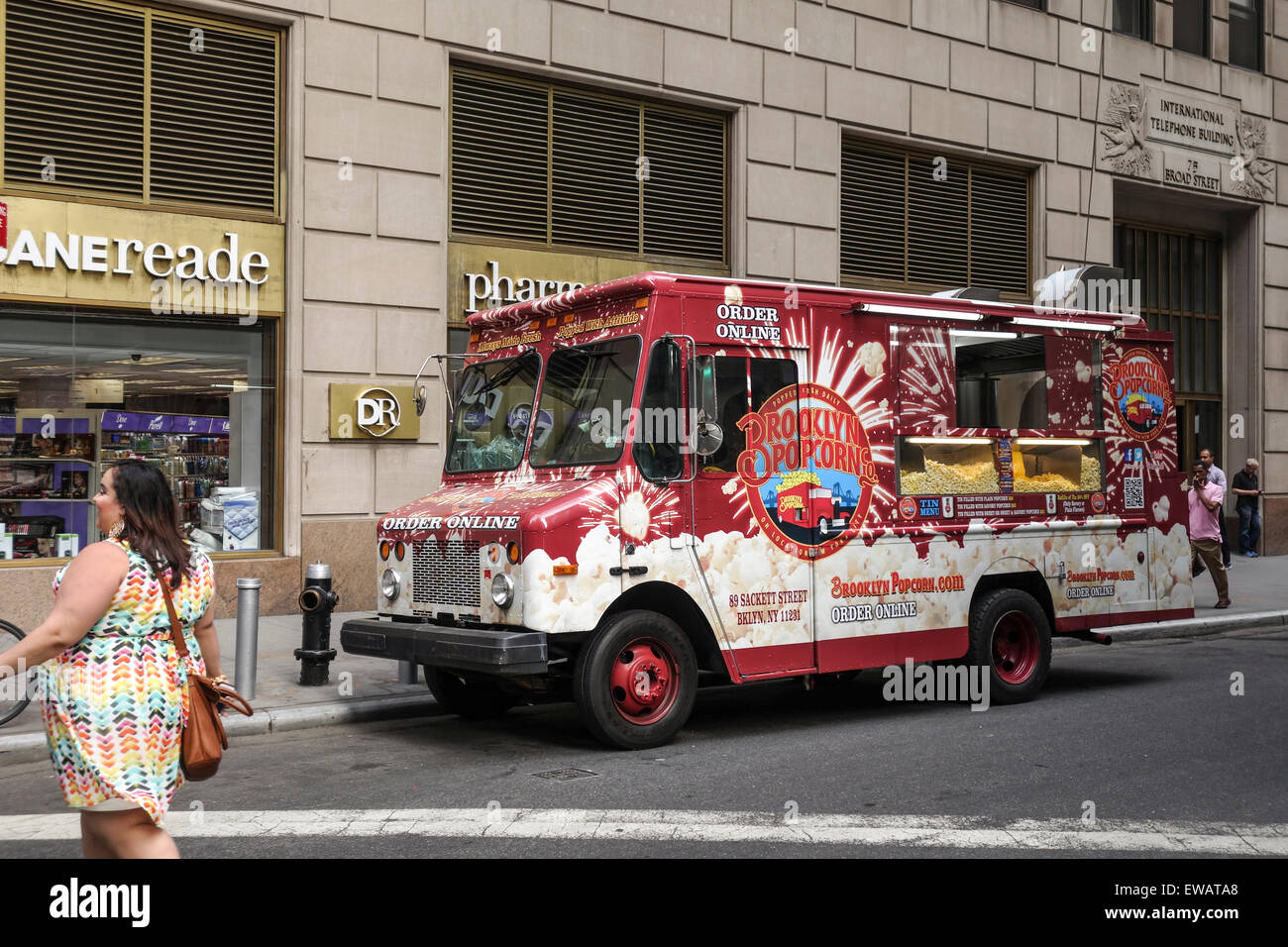 Food Truck Selling Popcorn In Financial District Of Manhattan New York City USA