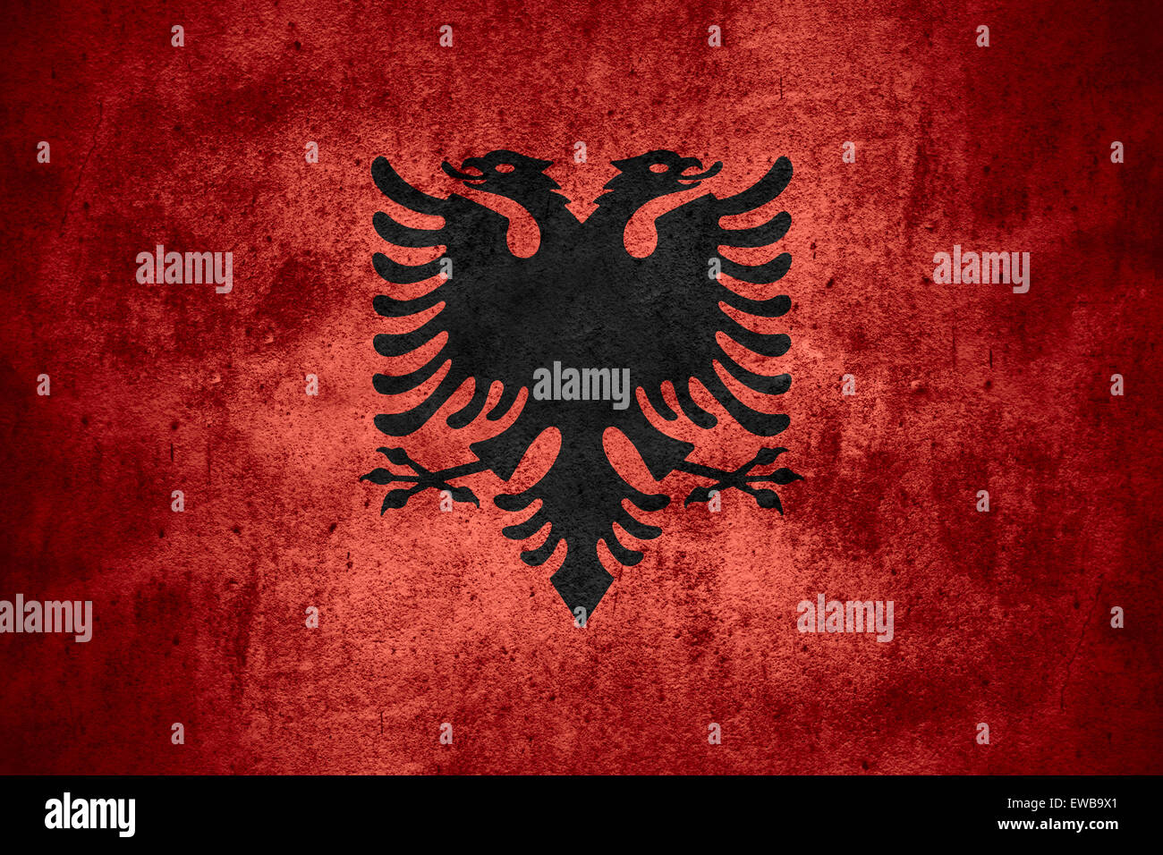 Flag Of Albania Or Albanian Banner On Rough Pattern Texture Stock - Albania flag