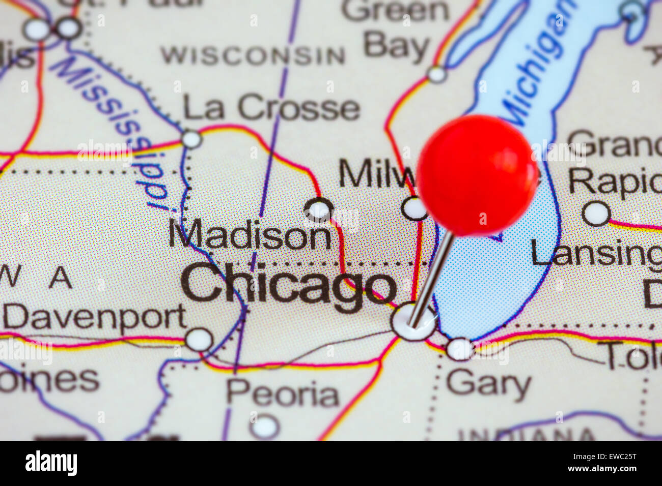 Closeup of a red pushpin on a map of Chicago USA Stock Photo