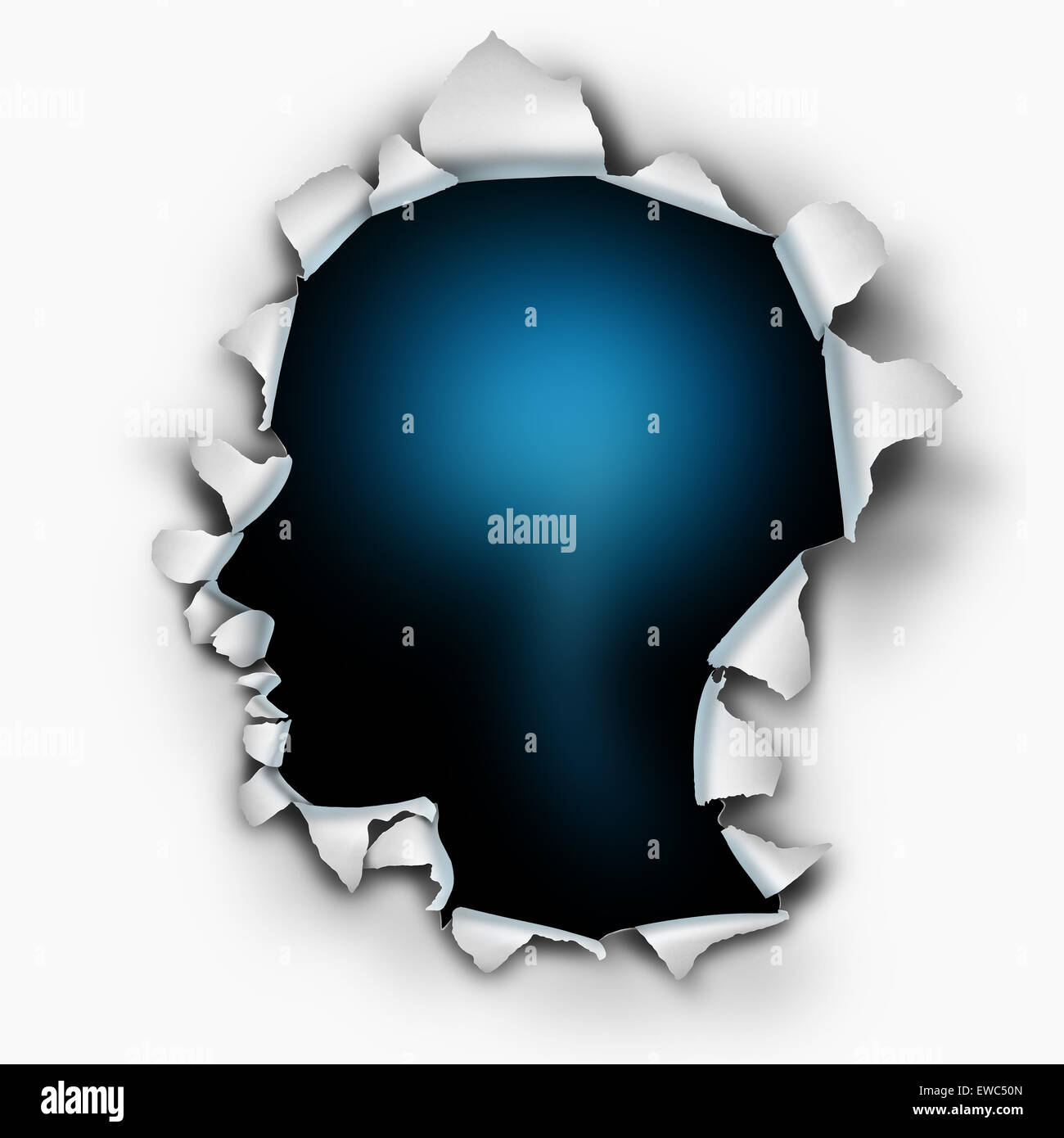 Inside of you human thinking concept as a paper burst hole with inside of you human thinking concept as a paper burst hole with ripped torn edges shaped as a head on a white sheet that has been punctured or punched open biocorpaavc
