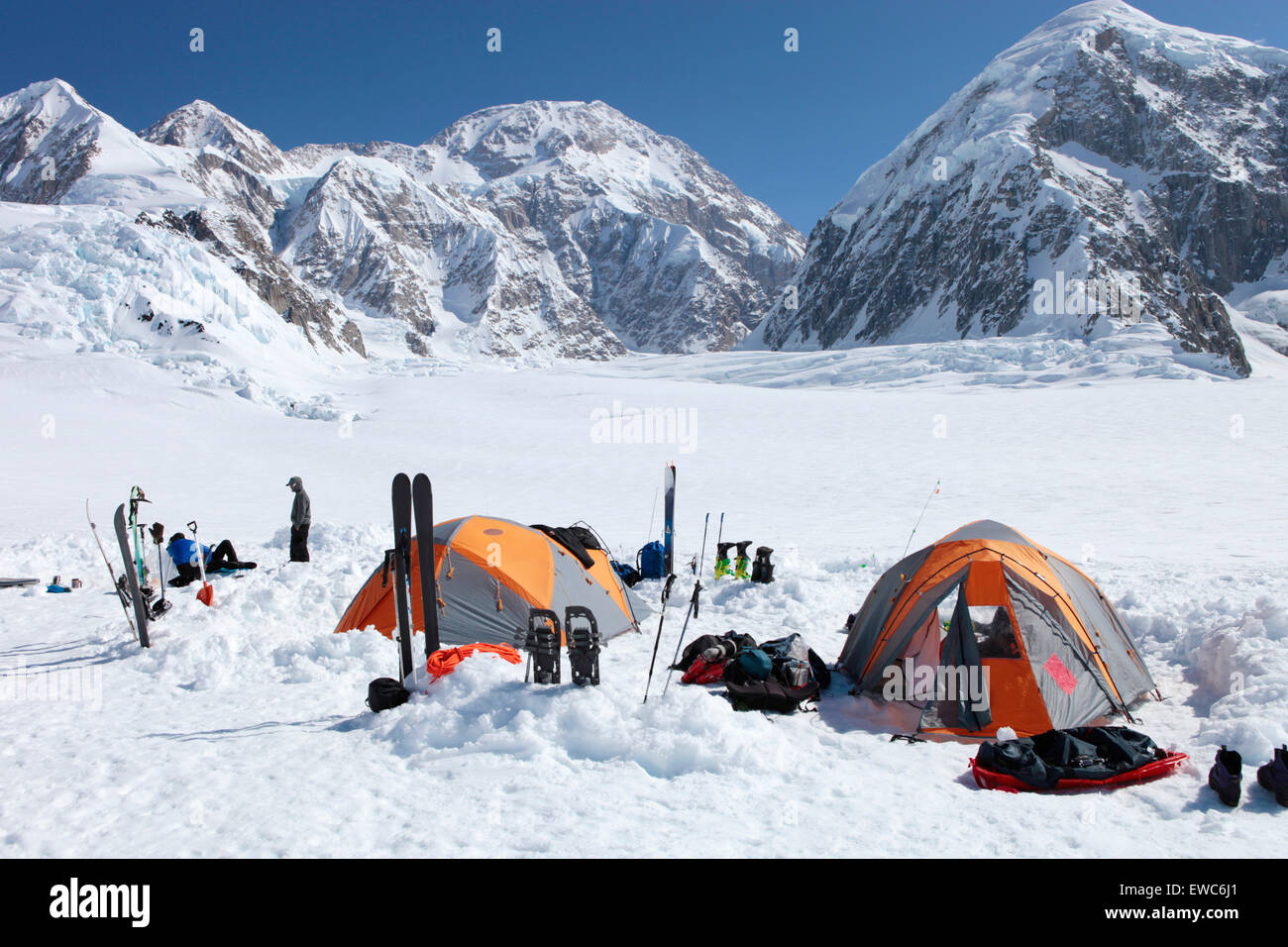A team of mountaineers is resting in their c& with tents on the lower Kahiltna glacier on their way to Mount McKinley in & A team of mountaineers is resting in their camp with tents on the ...