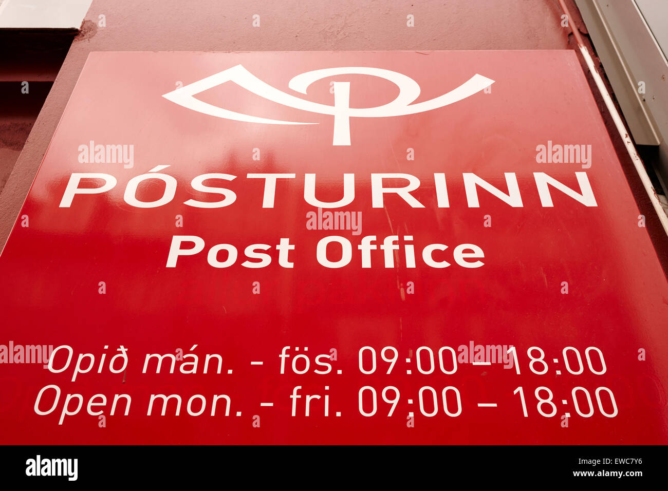 posturinn icelandic postal service post office opening hours sign ...