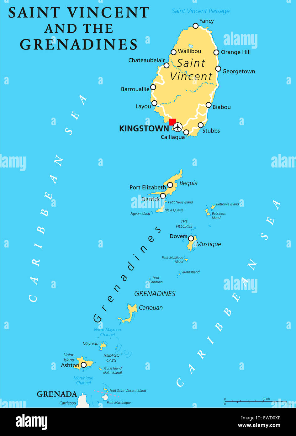 Saint Vincent And The Grenadines Political Map With Capital Stock - Saint vincent and the grenadines map