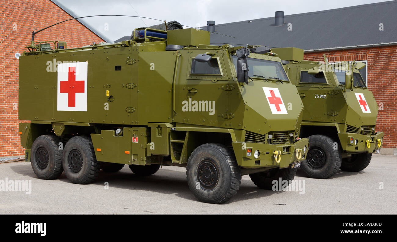 Mowag duro protected all terrain tactical vehicle in 6 6 configuration used as a military ambulance of the danish army