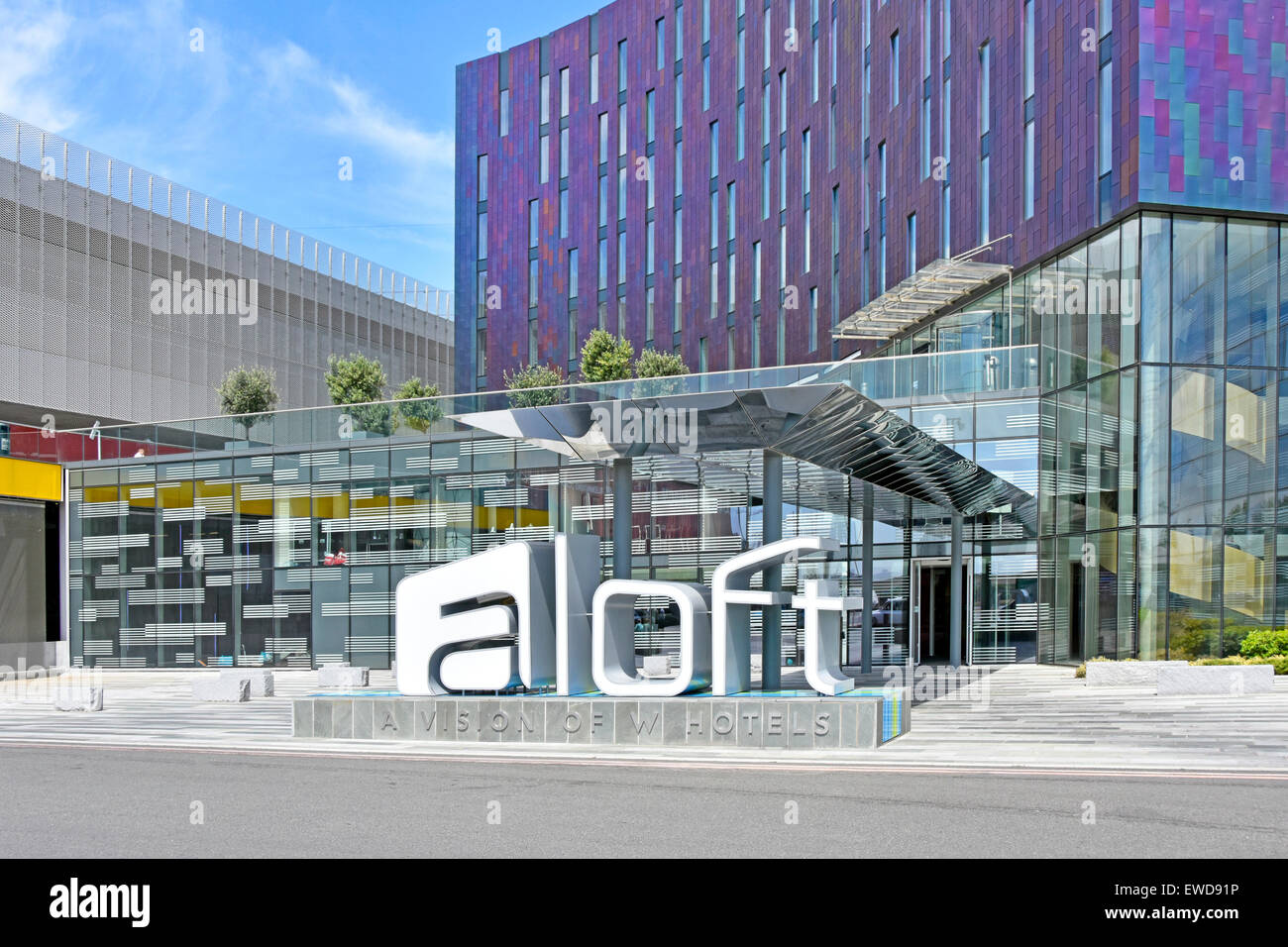 Main entrance to the aloft w hotel adjacent to the for Modern hotels uk