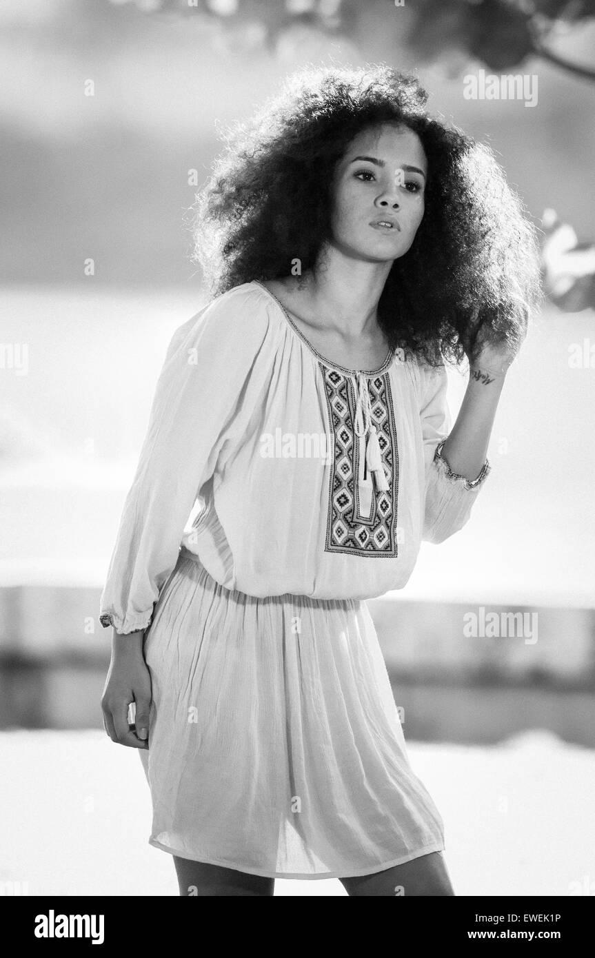 Long hair 70s style dress