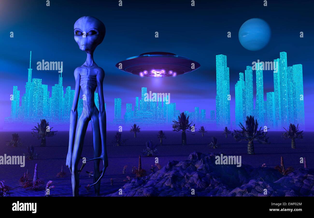 A Grey Alien On Its Homeworld, Of Zeta Reticuli Stock ...