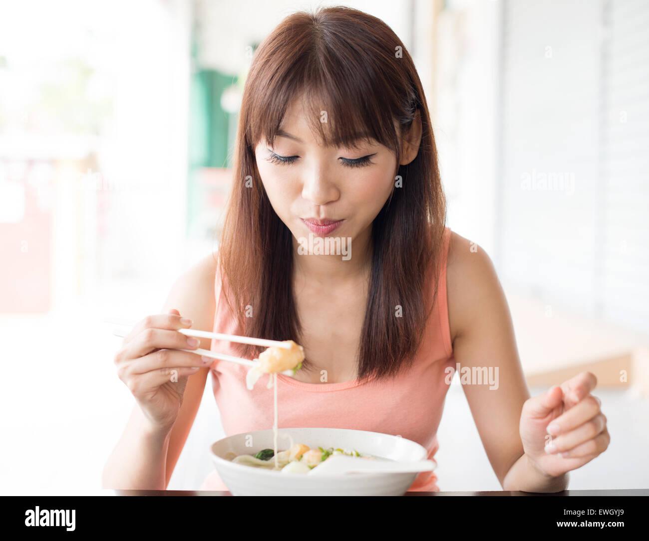 Asian Woman Eating 5