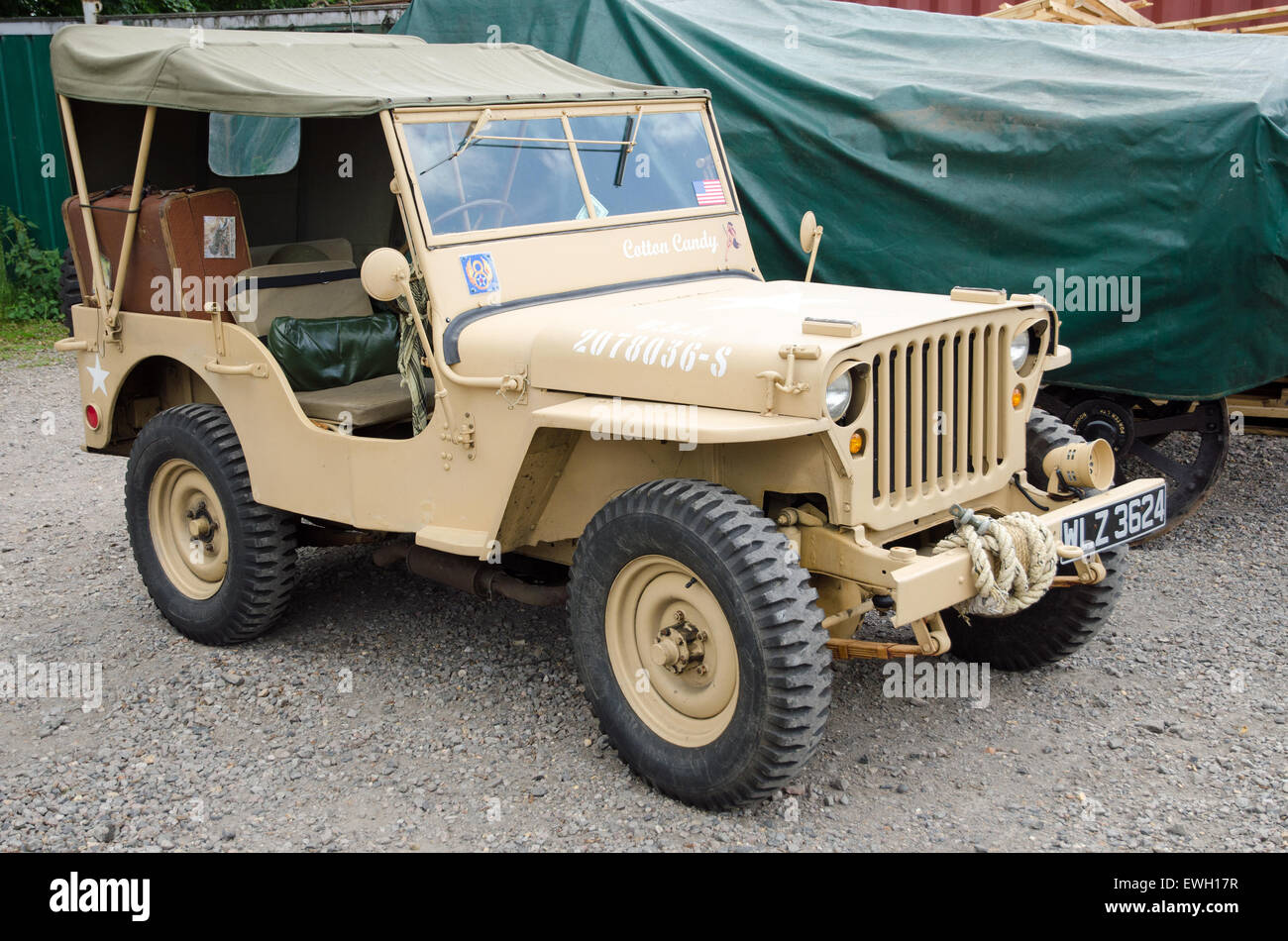 A willys jeep from ww2 in desert sand colours these classic 4 wheel drive vehicles