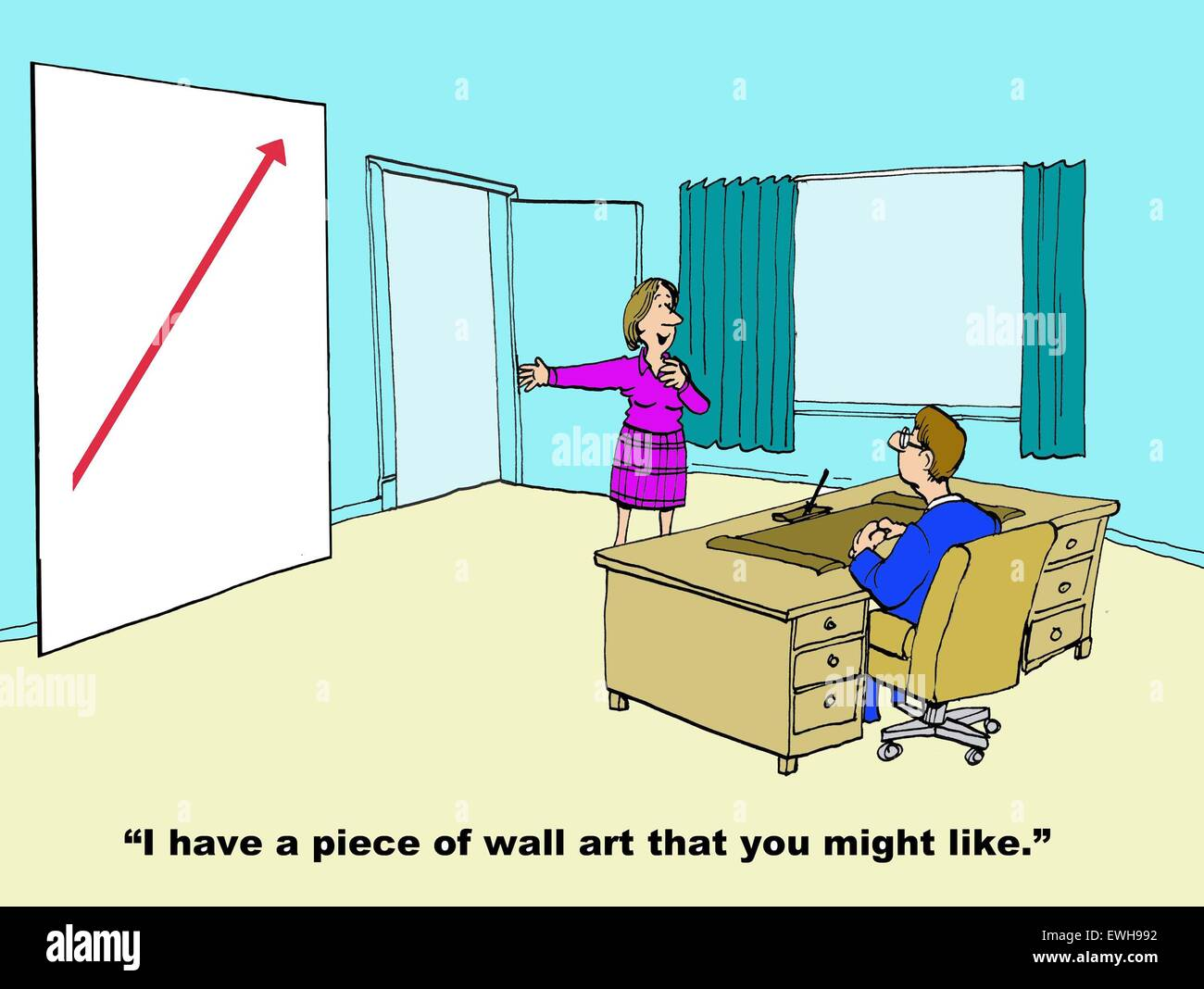 Business cartoon of wall art showing increasing red arrow and Stock ...