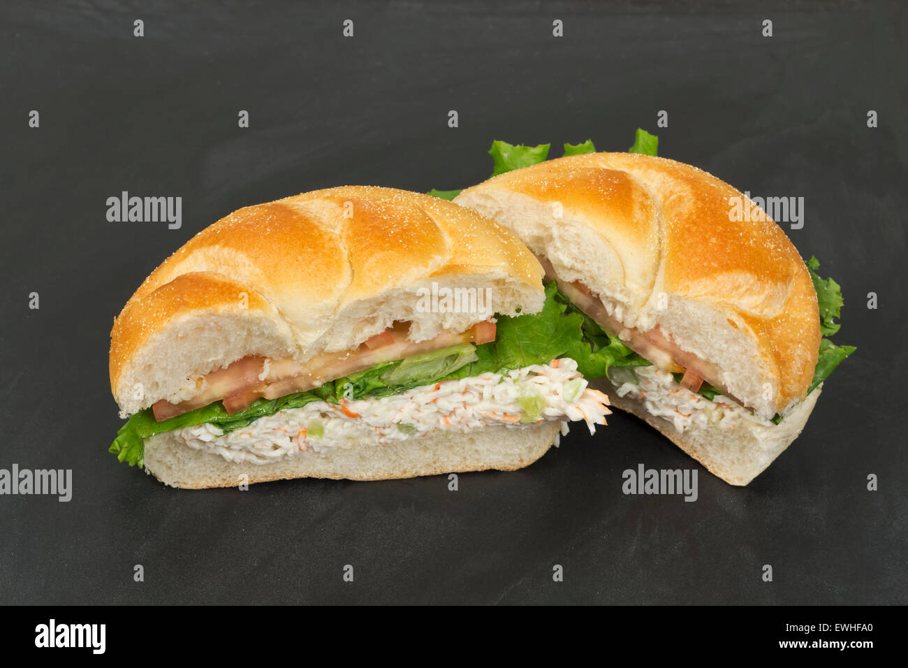Bound Seafood Salad Sandwich With Mayo On A Kaiser Roll Stock Photo, Royalty Free Image ...