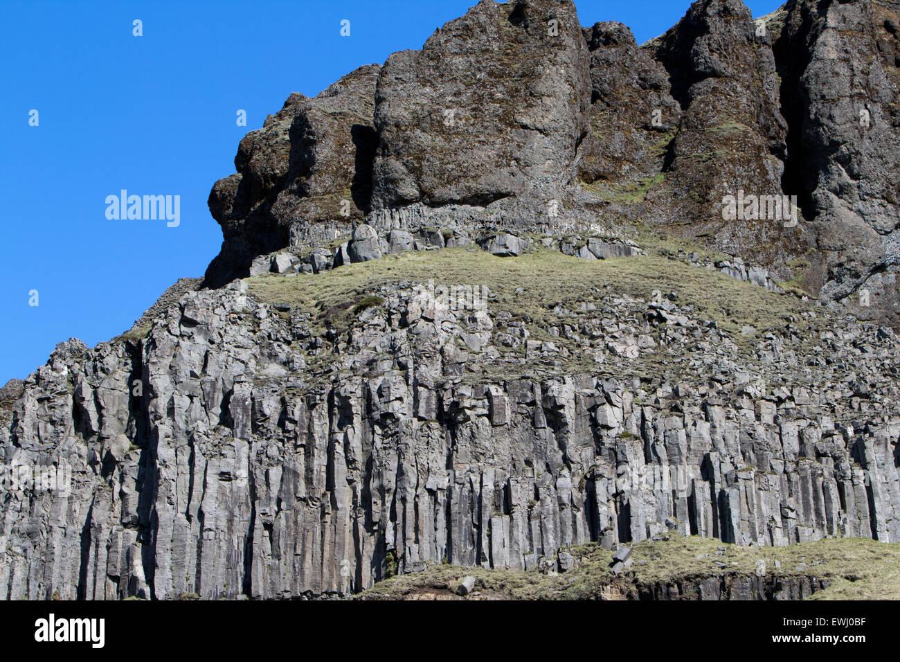 Hexagonal Basalt Volcanic Columns Rock Formations In