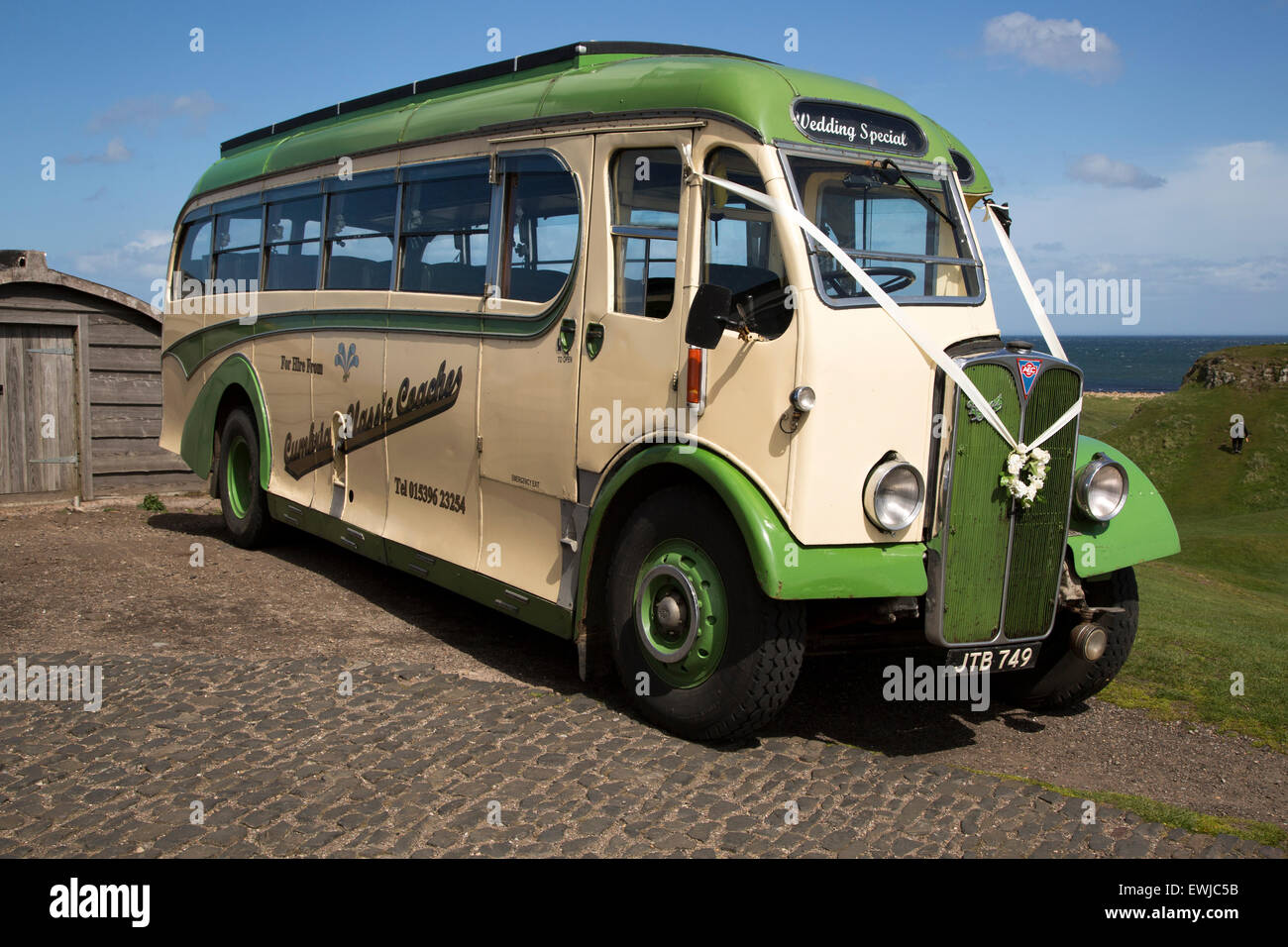 Antique Motor Coach Bus Vehicle On Holy Island