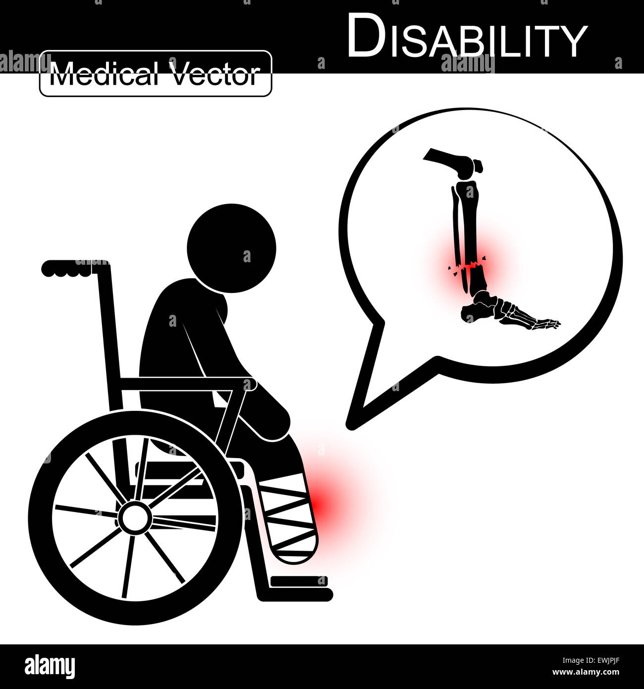 Cartoon physical therapy - Vector Stick Man With Leg Fracture On Wheelchair And Text Bubble Disability Physical Therapy