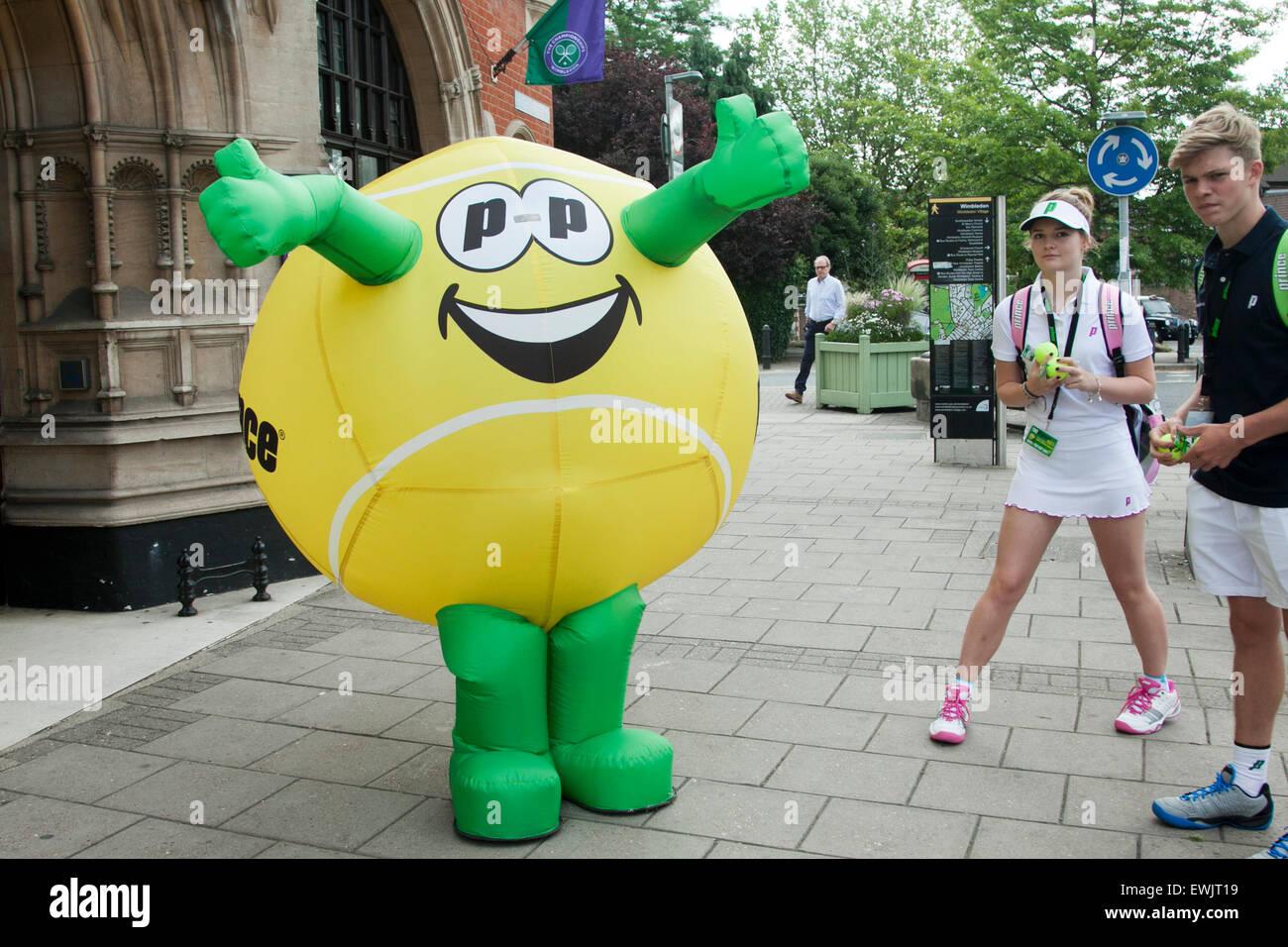 Tennis ball mascot stock photos tennis ball mascot stock photography - Stock Photo Wimbledon London Uk 27th June 2015 A Large Inflatable Tennis Ball On Wimbledon High Street As Wimbledon Prepares To Host The 2015 Grass