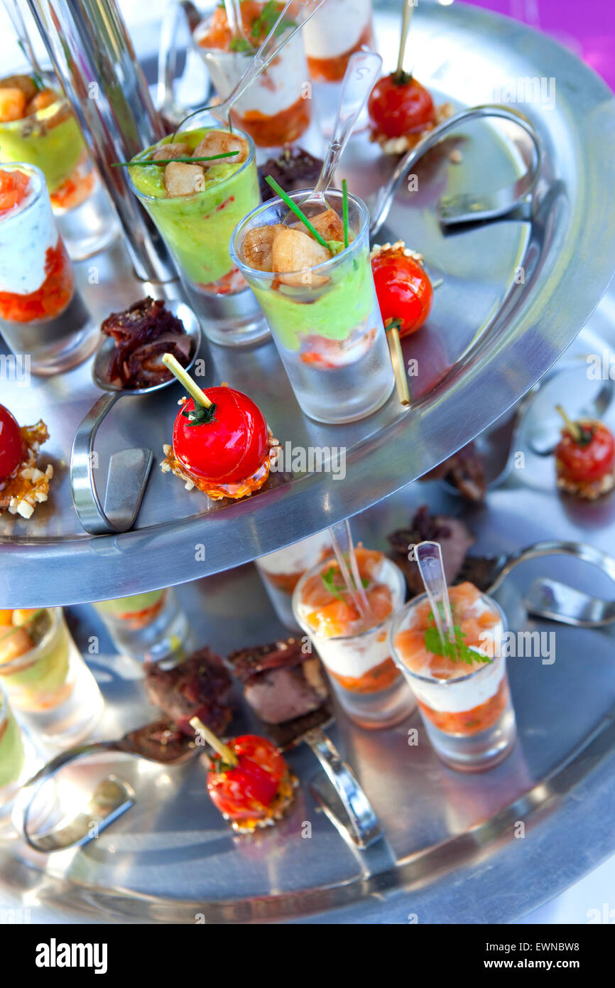 appetizers and snacks on a tray in a cocktail stock photo, royalty