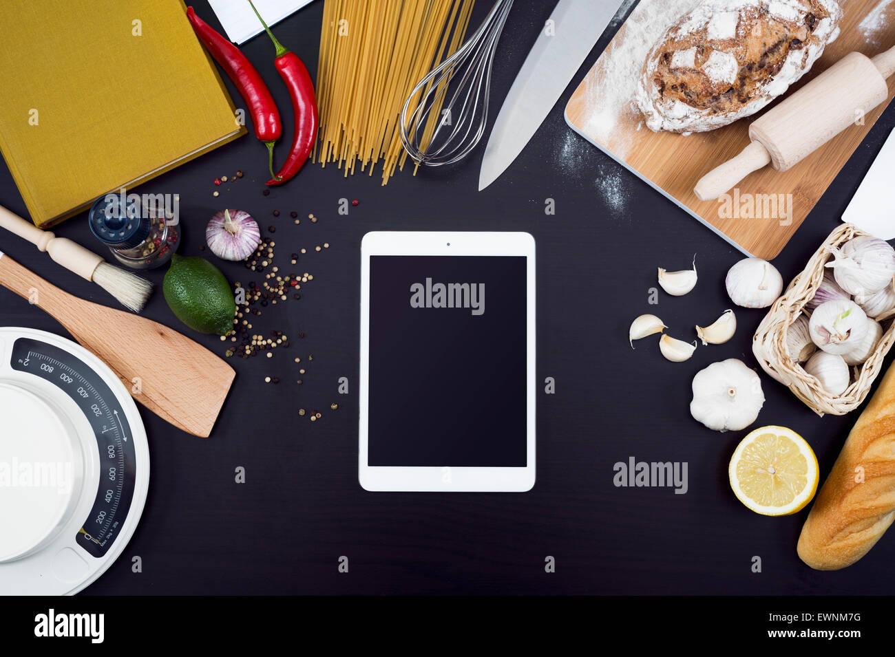 Restaurant Kitchen Background kitchen or restaurant and food hero header. kitchen items with