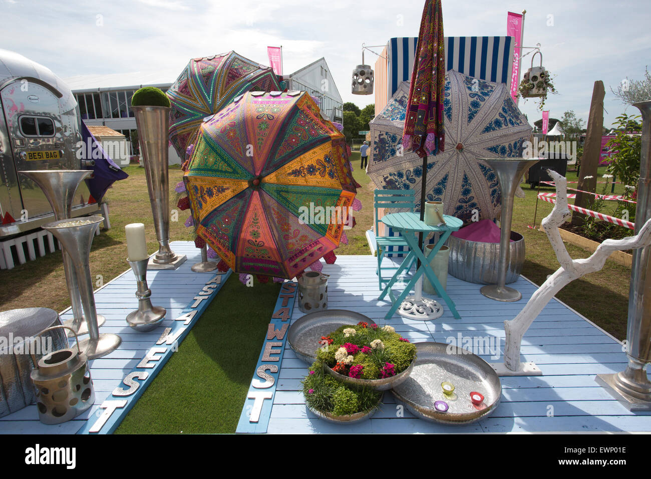 RHS Hampton Court Flower Show 2015, Umbrellas And Garden Furniture  Ornaments On Exhibition At The RHS Hampton Show, England, UK