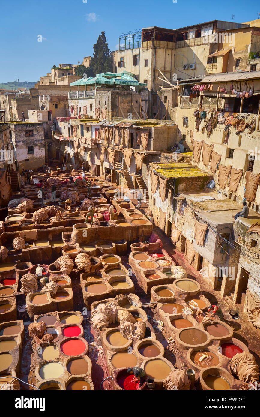 fez medina chouwara leather tannery morocco africa