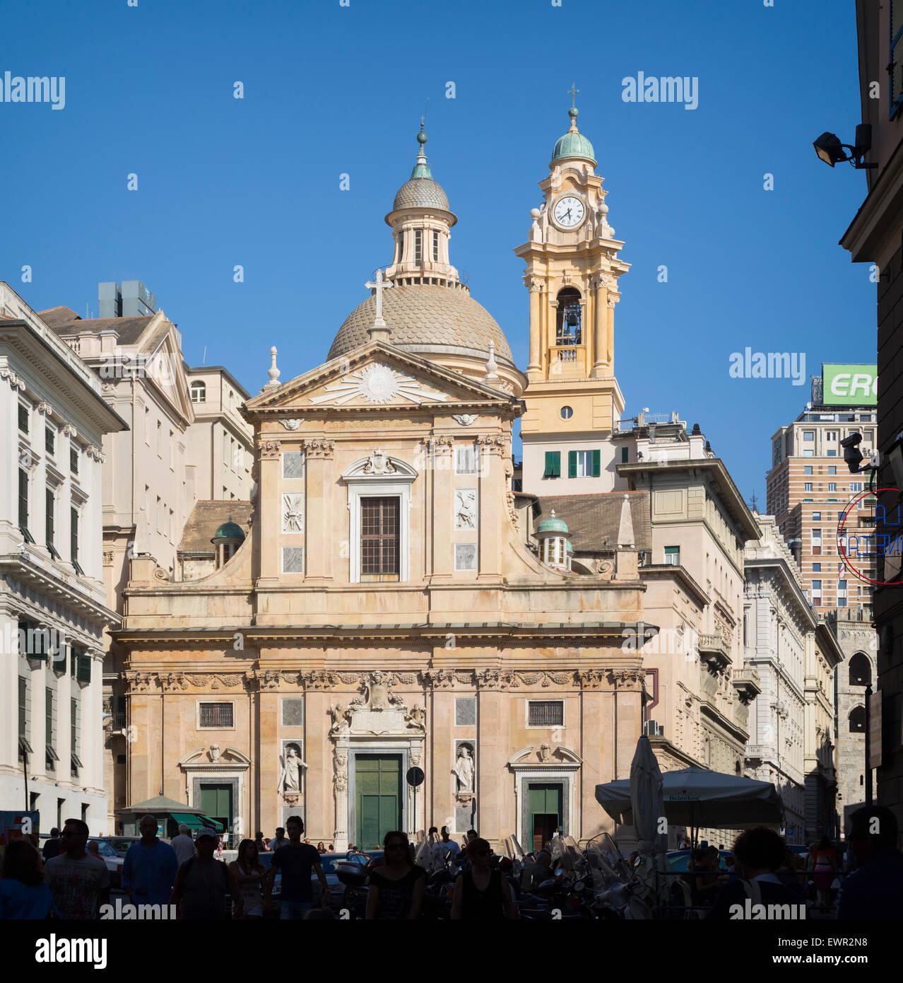 genoa, liguria, italy. baroque church of gesu or santi ambrogio e
